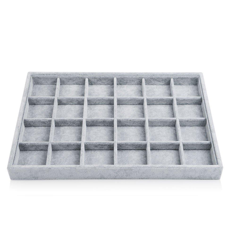 Oirlv Velvet Stackable Jewelry Display Trays Showcase Jewelry Organizer Storage Trays (24 Grids)