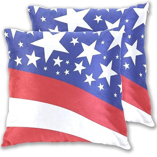 BEUSS Estrella Azul Rojo USA Bandera Funda de Almohada ...