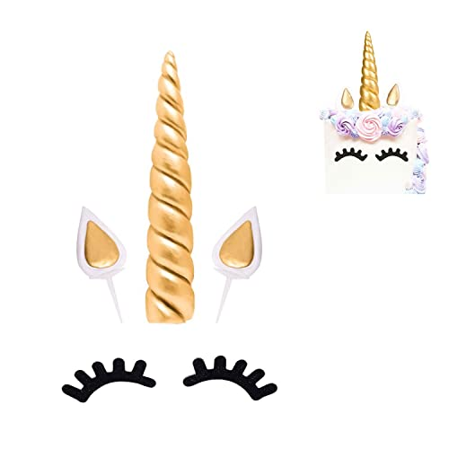sedmart Gateau Licorne-Decoration Licorne Gateau-Deco Gateau Licorne-Licorne Anniversaire-Cake Topper-Accessoire Gateau DIYOreilles et Cils 5 Pieces L(Or)