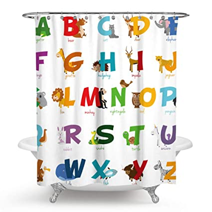 Chengsan Alphabet Fabric Shower Curtain For Kids ABC Educational Learning Tool Boys And Babies Large