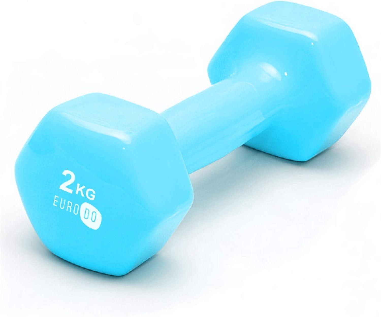 Mancuerna 2kg para Ejercicio Fitness Gimnasio Aerobic 1 Pieza Pesa Entrenamiento en Casa EURODO para Mujer y Hombre