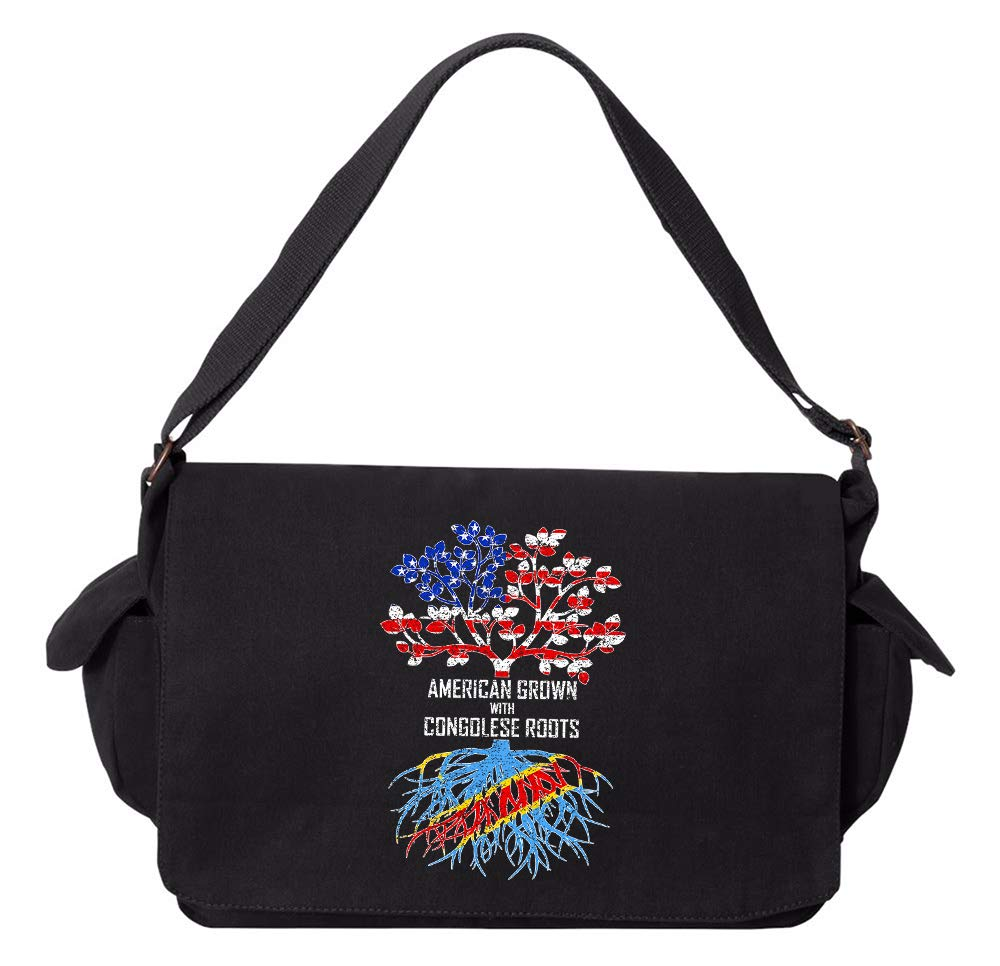 Tenacitee American Grown with Congolese Roots Democratic Republic Red Brushed Canvas Messenger Bag