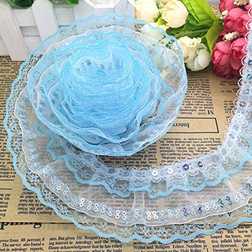 5Yards Light Blue Color Sequin Stretch Ribbon Trim Craft Sewing Trimming