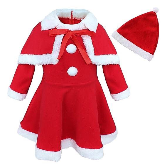 iixpin Vestido Infantil de Papa Noel Traje de Navidad 3Pcs ...