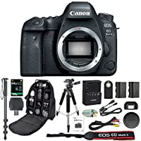 Canon EOS 6D II Mark 2 Digital SLR Camera With Wifi Body Only + 64GB SDXC Card + Deluxe Tripod + Pro Monopod + SLR Backpack + Spare LP-E6 Battery + Remote + SD Reader & More - International Version