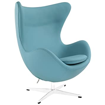 modway glove leather lounge chair in baby blue - Leather Lounge Chair
