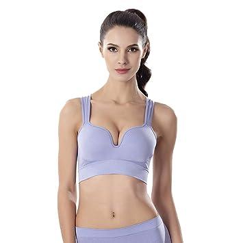 HOULIFE Femme Soutien-Gorge de Sport Dos Nageur sans Armatures Push Up pour  Gym c6764f4543a