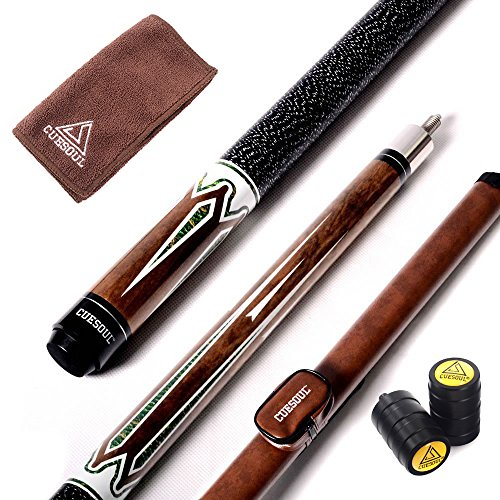 CUESOUL Billiards 58-Inch 19 Oz Canadian Maple Pool Cue Stick with Hard Billiards Carrying Case TB01-13mm tip