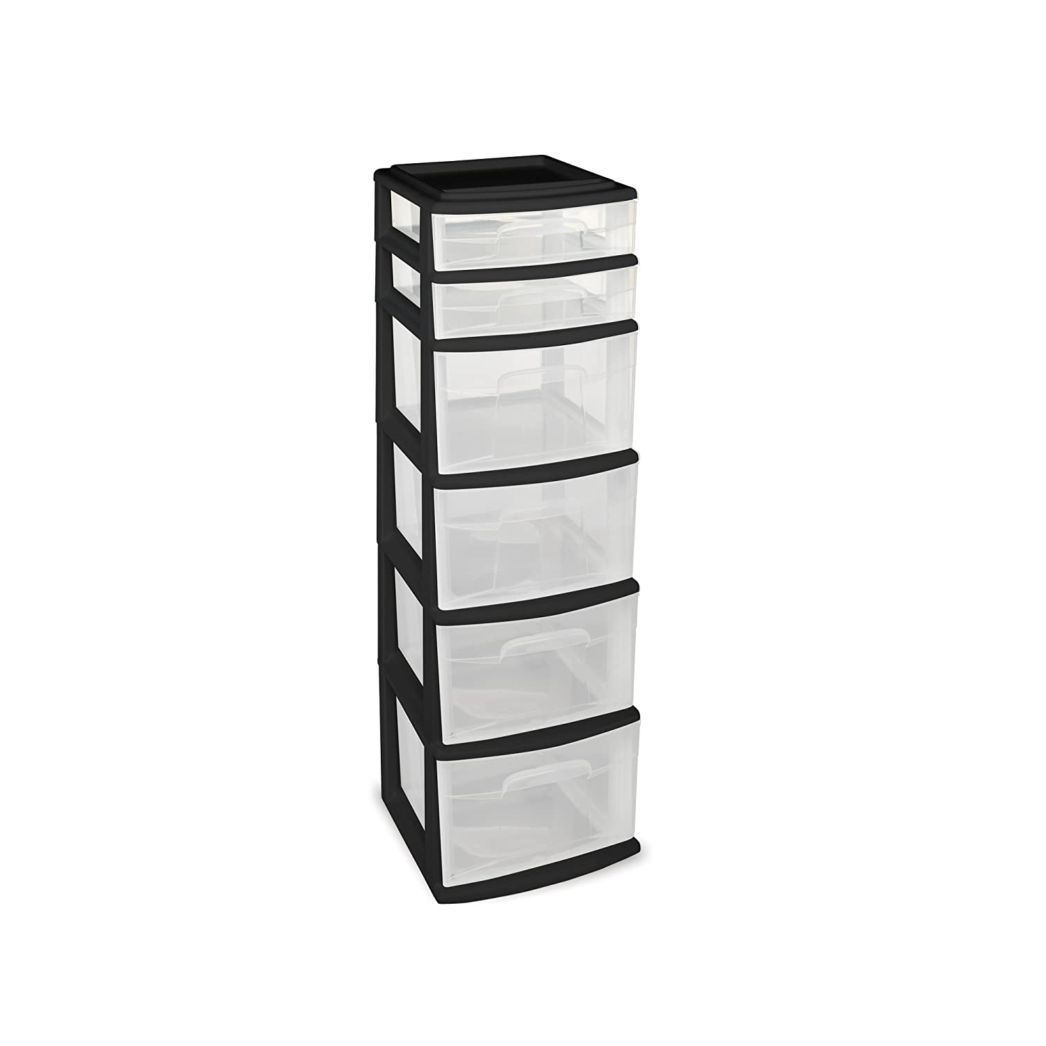 HOMZ Plastic 6 Drawer Medium Storage Tower, Black Frame, Clear Drawers, Set of 1