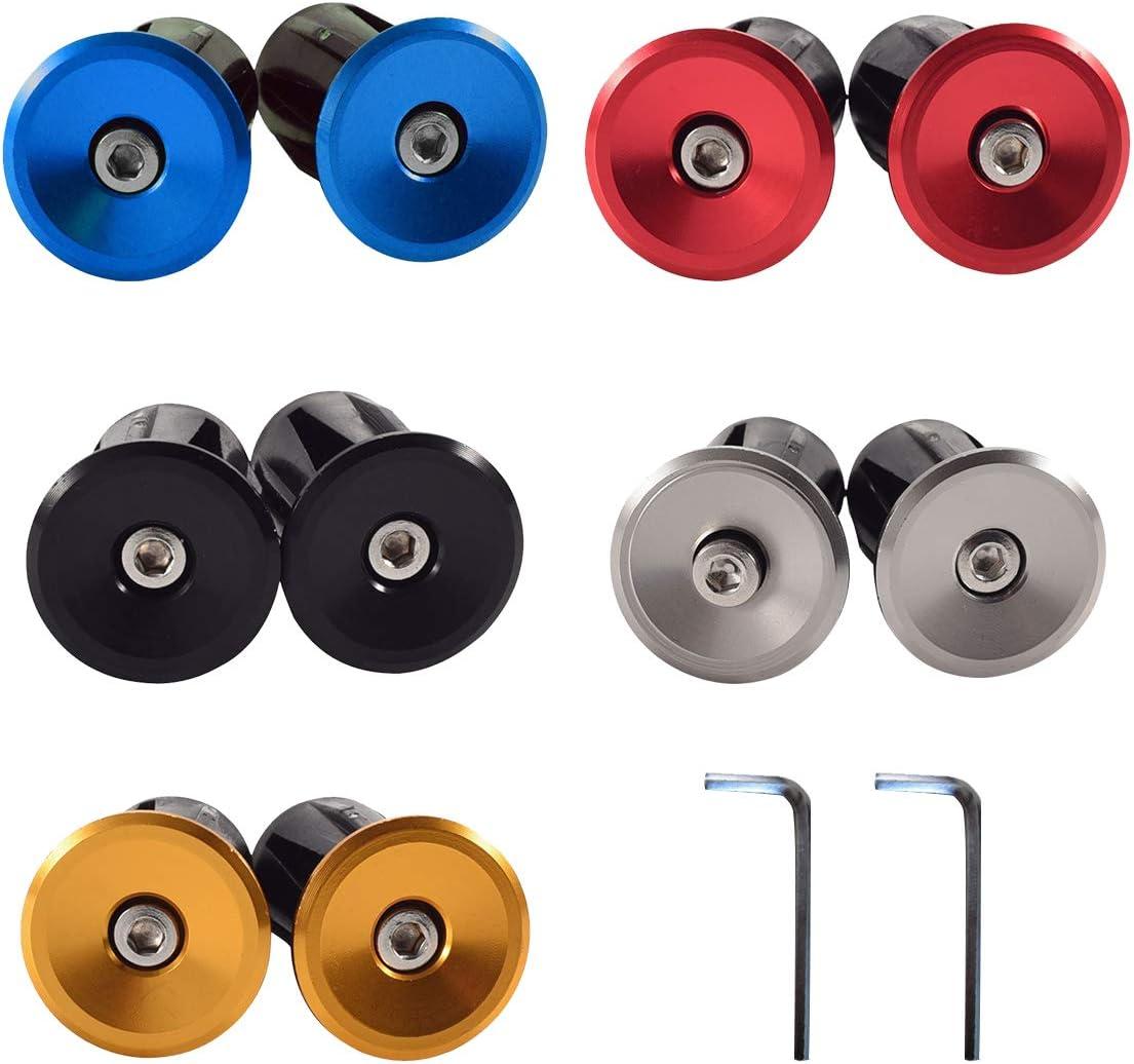 CHENKEE Tapones para manillar de bicicleta, 5 pares de puños de manillar de aluminio, tapones para los extremos con llave de 3 mm para bicicleta urbana, triciclo, silla de ruedas, plegable