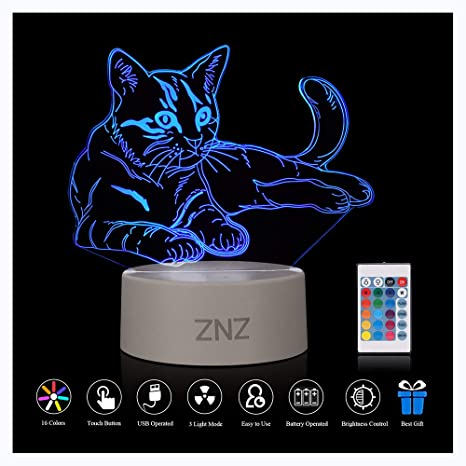 Lámpara LED de luz nocturna 3D - ZNZ16 colores con luz nocturna regulable con interruptor táctil para niños, lámpara de escritorio Illusions de luces ...