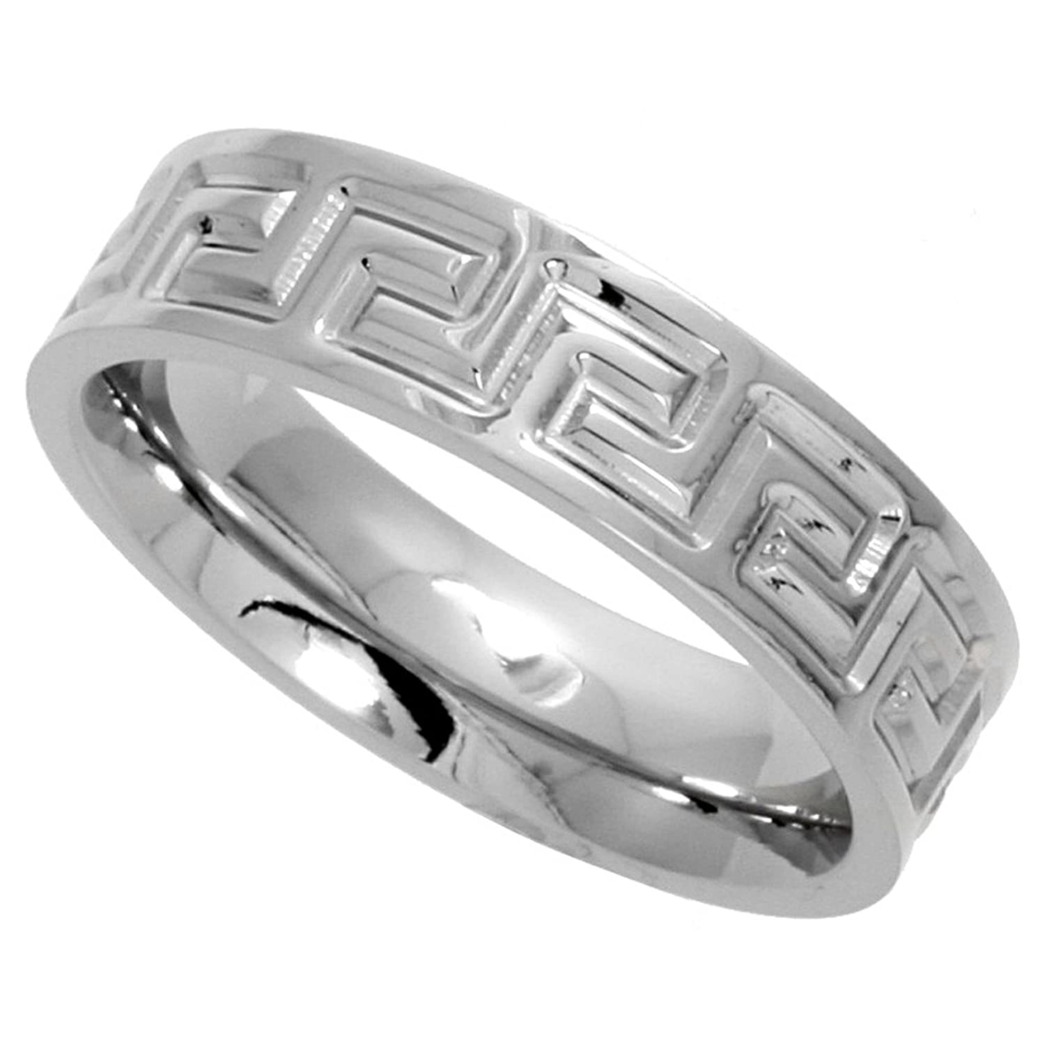 Bling jewelry greek key mens stainless steel band ringamazon surgical stainless steel greek key ring 6mm wedding band comfort fit sizes 6 biocorpaavc