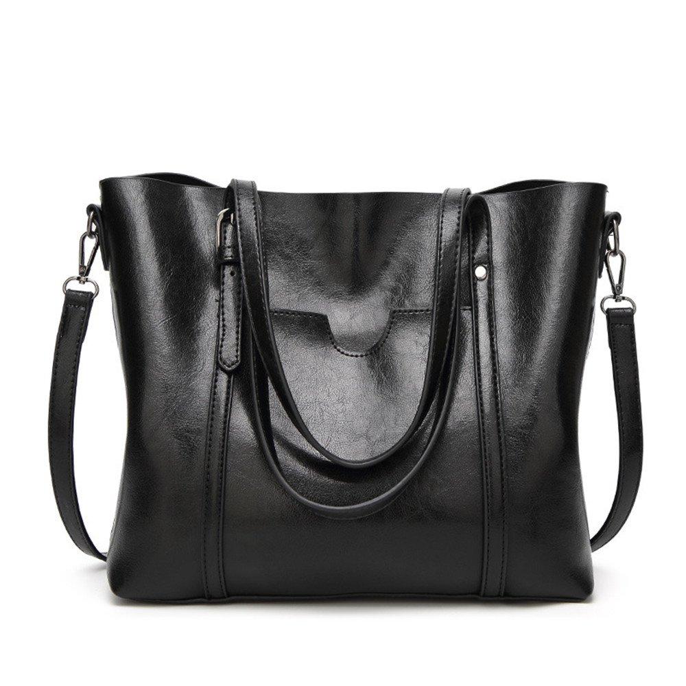 SIFINI Women Fashion Top Handle Satchel Handbags Shoulder Bag Tote Purse Crossbody Bag (black)