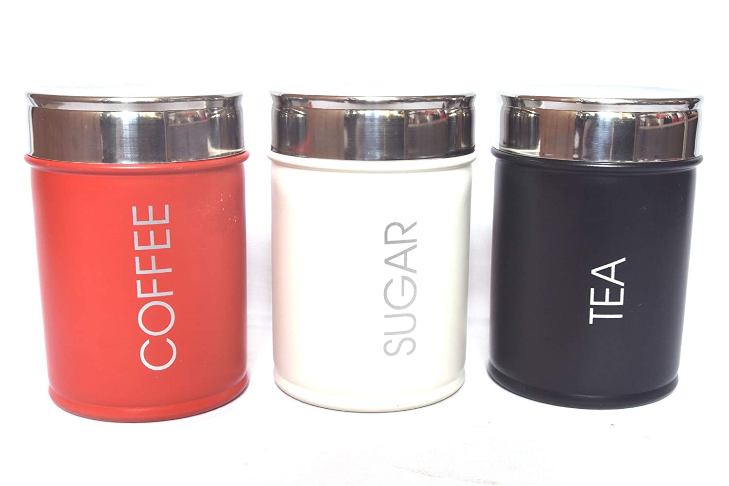 Steel Canister Set with Airtight Lid; Set Contains Tea, Coffee and Sugar Canisters; Black/White and Red