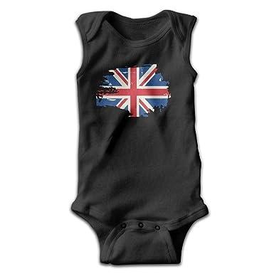 cc6e3b8c2b81 Amazon.com  braeccesuit British Flag Retro Infant Baby Boys Girls Crawling  Clothes Sleeveless Onesie Romper Jumpsuit Black  Clothing