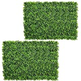 Artiflr 2pack Artificial Boxwood Hedge Panels,UV Protected Faux Greenery Fence Panels Mats for Privacy Fence Patio,Greenery Walls Indoor Outdoor Decor,16'' L x 24 W Panels (Green-1)