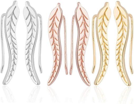 925 Sterling Silver Earrings for Women Sterling Silver Hammered Dainty Ear Crawler Earrings Spiral Threader Earrings Minimalist Hypoallergenic Earrings for Women Girls