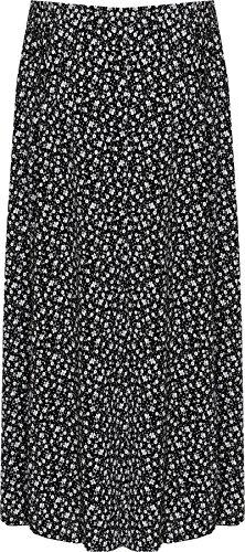 Noir Fleur Dames Midi lastique Plus Floral WEARALL tendue Longueue Femmes Taille Imprimer Jupe 44 58 Yxq64YOwH
