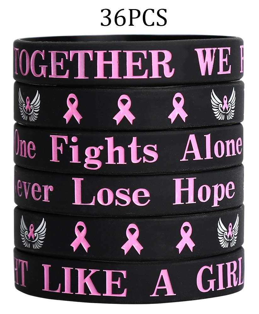 GTN Tech Breast Cancer Awareness Bracelets Wristbands- Pink Ribbon Party Favors Supplies Gifts Decorations,36Ct by GTN Tech