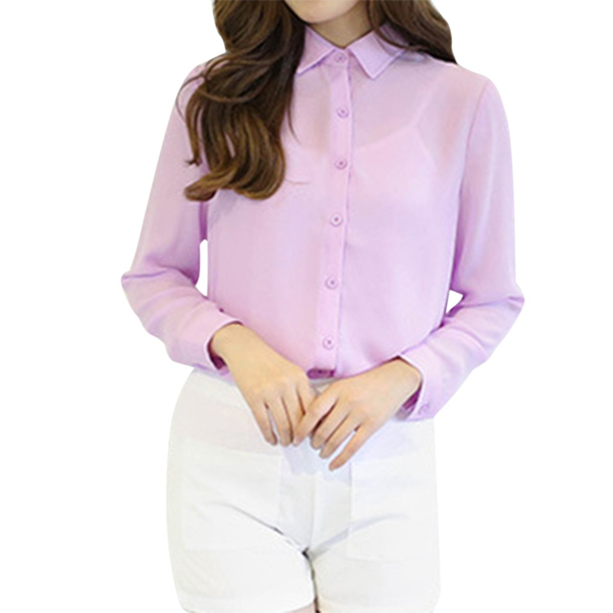 dca8ccaf5bf Cekaso Women s Button Up Shirts Solid Collared Sheer Long Sleeve Chiffon  Blouse  Amazon.ca  Clothing   Accessories
