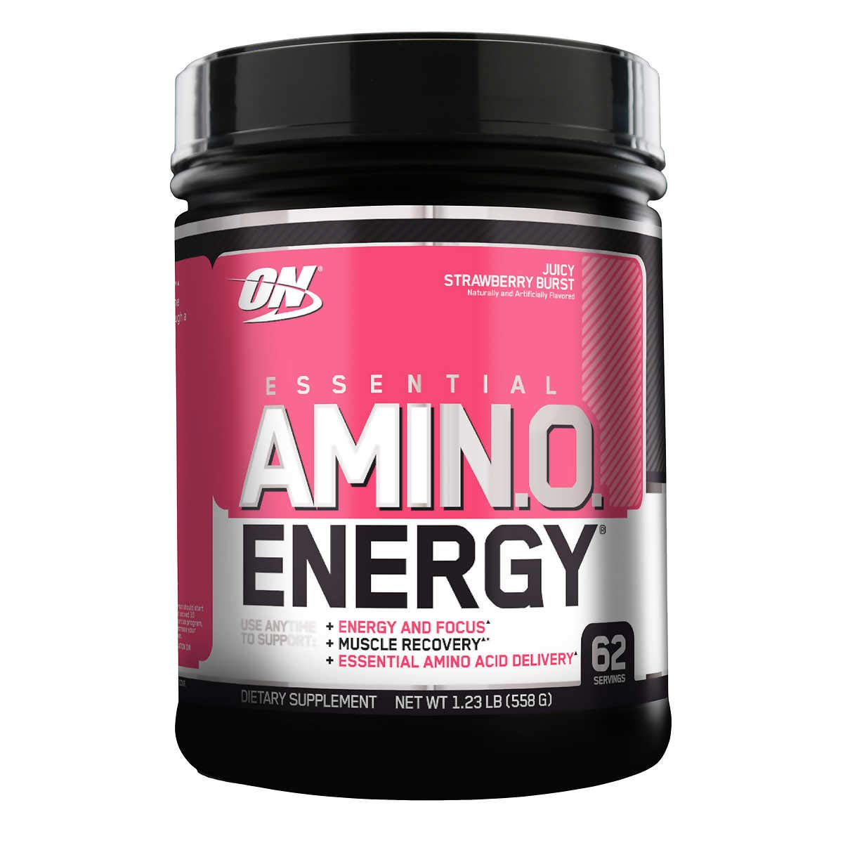 Optimum Nutrition Essential Amino Energy, Juicy Strawberry Burst, Preworkout and Postworkout Recovery with Essential Amino Acids and Caffeine from Natural Sources, 62 Servings, 1.23 lb, Pack of 1 by Optimum Nutrition