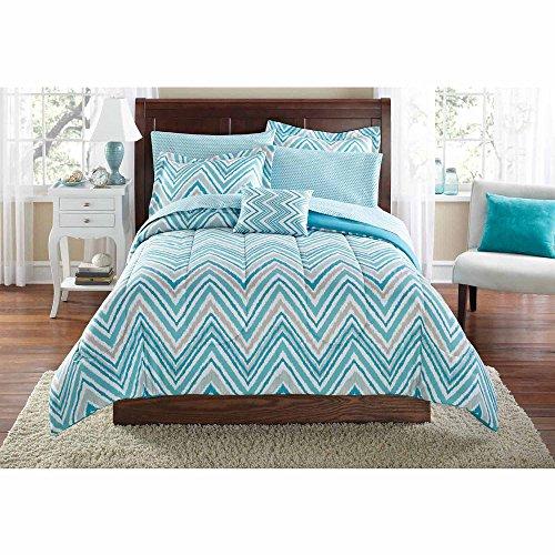 Mainstays Teen Modern Geometric Watercolor Chevron Reversible Soft Aqua Palette Bedding Twin/Twin XL Comforter for Girls (6 Piece in a Bag) (Teal Chevron Toddler Bedding)