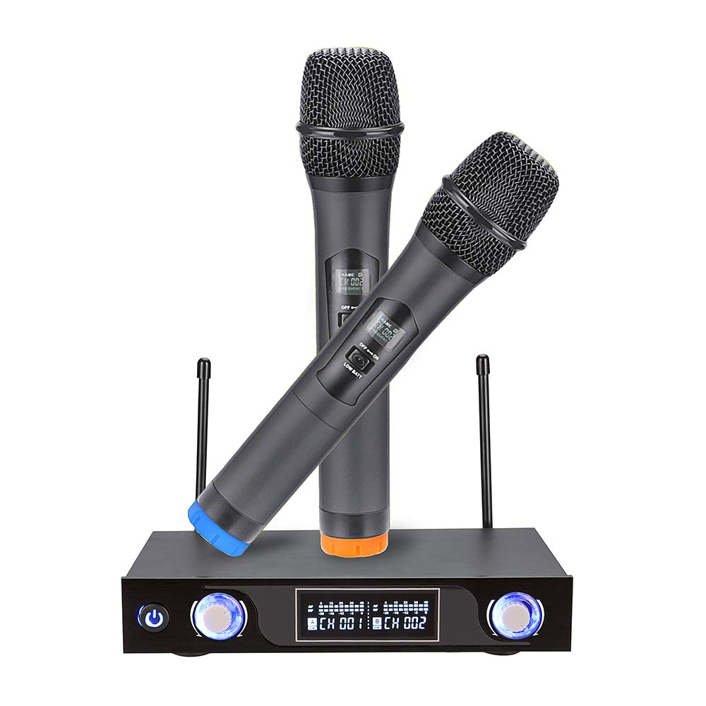 UHF Wireless Microphone System Dual Channel Handheld Microphone with LCD Display Singing Machine Karaoke Mixer Set for Outdoor Wedding Conference Family Party Church by Shirylzee