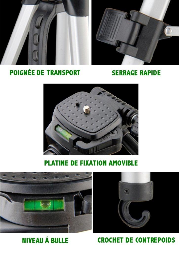 Ideal Solution ID-PFV4 Trépied avec Etui de transport pour Appareil photo  Reflex Hybride Caméscope Argent  Amazon.fr  Photo   Caméscopes e2a1d8dd7e87