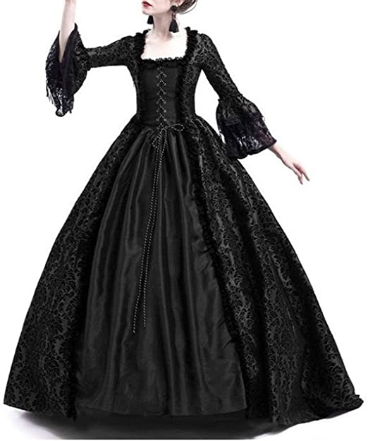 Ball Gowns Dress Retro Victorian Women Medieval Bell Sleeve Costume Gothic Gown