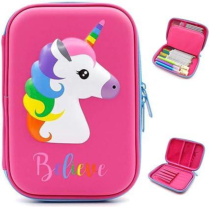 Bonito estuche con diseño de unicornio en relieve, Estuche para lápices con diseño de unicornio en relieve,caja de lápices para niños, estuche con múltiples compartimentos, color Unicorn Pink: Amazon.es: Oficina y papelería
