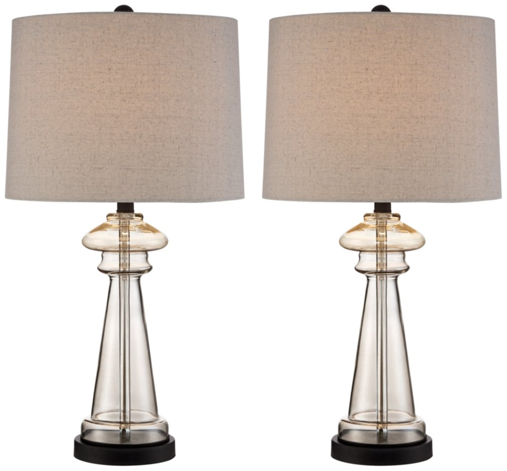 "Dalia Cottage Table Lamps Set of 2 Champagne Gold Glass Taupe Drum Shade for Living Room Family Bedroom Bedside Nightstand - 360 Lighting - Set of 2 glass lamps: 27"" high. Each shade is 13"" across the top x 14"" across the bottom x 10"" on the slant. Each weighs 4.9 lbs. Lamps use one maximum 100 watt standard-medium base bulb (not included). On-off socket switches. Glass table lamp from the 360 Lighting brand. - lamps, bedroom-decor, bedroom - 61LDiSSqWmL -"