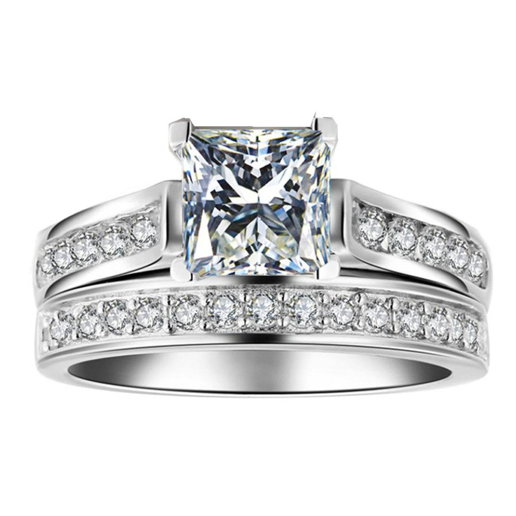 Lethez Hot Sales 2-in-1 Diamond Rhinestone Band Ring New Creative Zirconia Engagement Wedding Jewelry Set (Silver, 6)