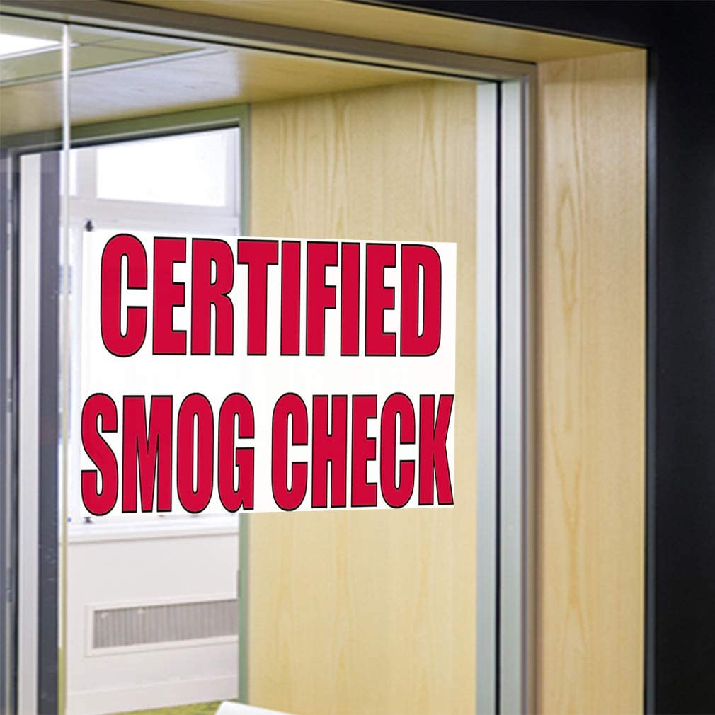 27inx18in Set of 5 Decal Sticker Multiple Sizes Smog Check #2 Automotive Smog Outdoor Store Sign White