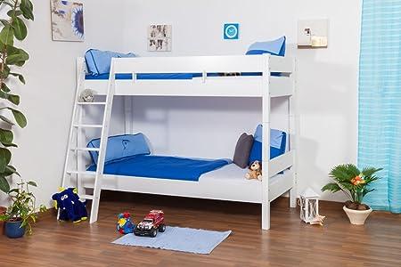 Kinderbett Etagenbett : Kinderbett etagenbett martin buche vollholz massiv weiß lackiert