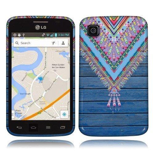 NextKin LG Optimus Dynamic II L39C Flexible Slim Silicone TPU Skin Gel Soft Protector Cover Case - Blue Aztec Chevron Feather on Blue Wood