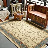 American plant flower carpet mat Living room Sofa Coffee table carpets Bedroom Bedside blanket Room [hall] European style Household use Simple carpet-B 63x91inch(160x230cm)