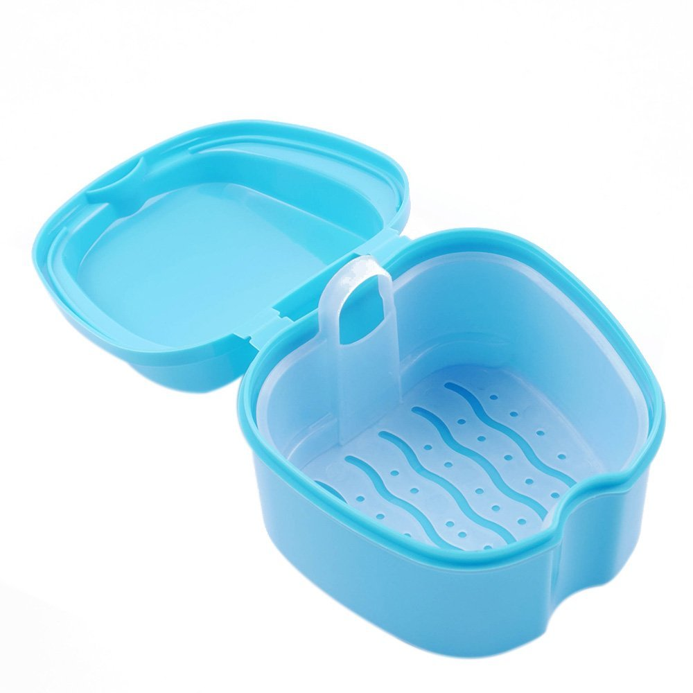 WSERE False Tooth Denture Box Retainer Case Holder Dental Teeth Denture Bath Cup Leak Proof Storage Organizer Container with Basket, Full Protection