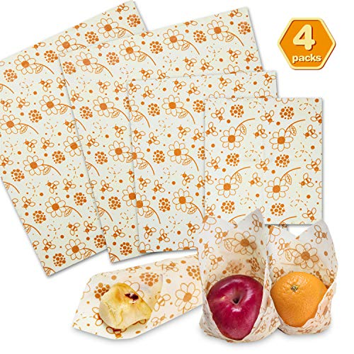 (Beeswax Food Wrap, Reusable Food Wrap Bee Wax Wrap 4 Pack for Sandwich, Cheese, Fruit, Bread, Snacks, non plastic food storage 1 Small, 1 Medium, 2)