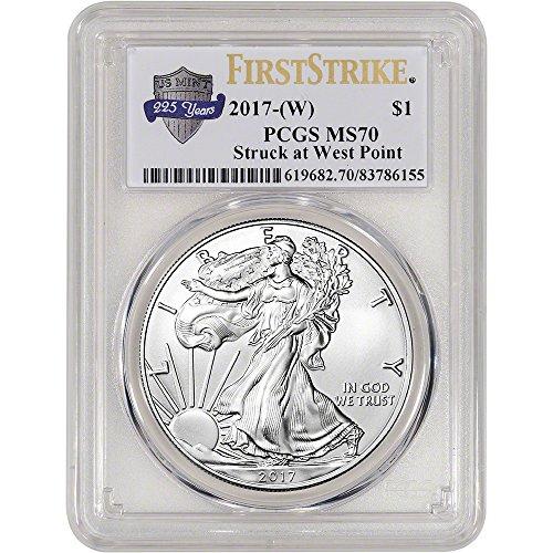 2017 (W) American Silver Eagle (1 oz) First Strike 225th Anniversary Label $1 MS70 PCGS