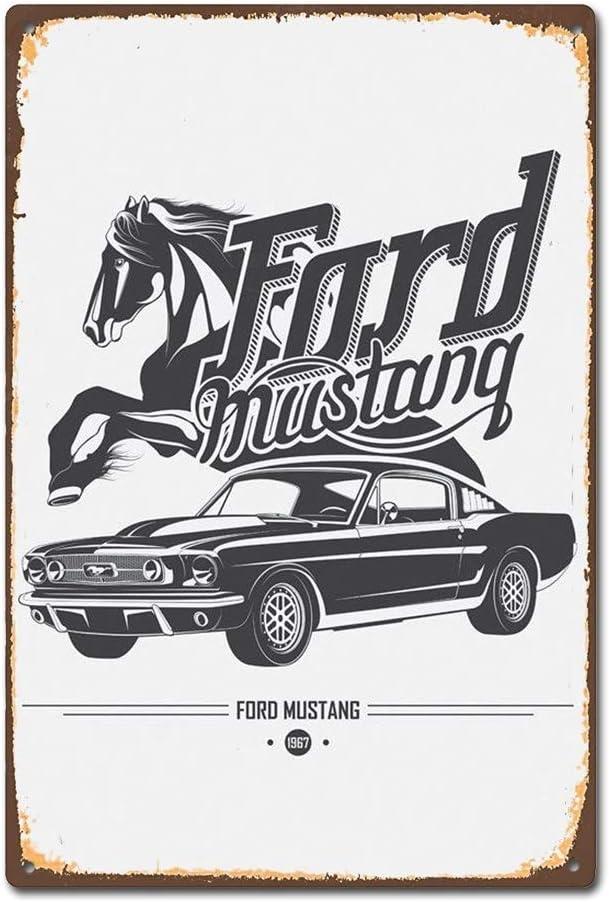 M/étal Vintage R/étro Shabby Chic Plaque de Ford Mustang Plaque murale Chaudi/ères