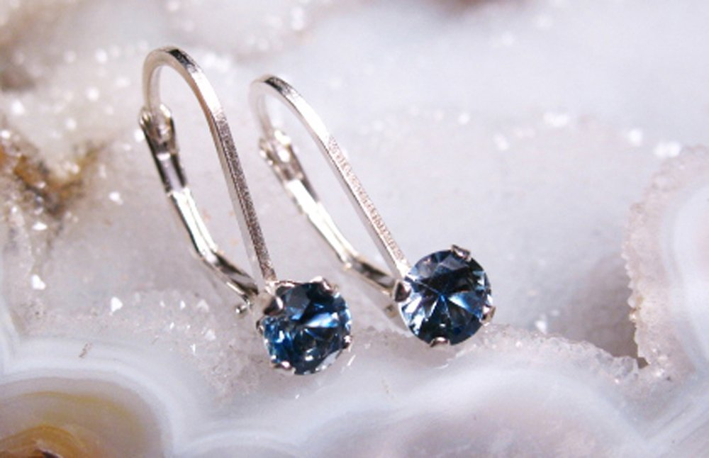 MONTANA SAPPHIRE LEVERBACK STERLING SILVER EARRINGS