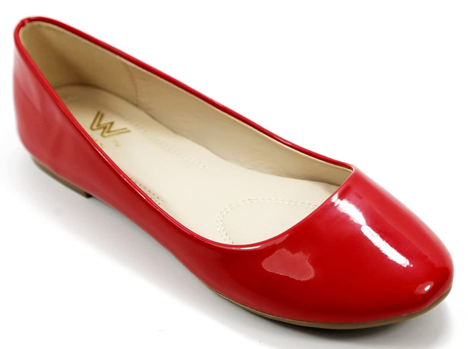 Walstar Women's Basic Round Toe Ballet Flat Shoes B015YJ3F76 7 B (Run Small, Order 1/2 size UP) Red Patent