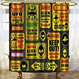 NALAHOMEQQ Outer Space Decor Shower Curtain Warning Ufo Signs with Alien Faces Heads Galactic Paranormal Activity Design Fabric Bathroom Decor Set with Hooks Yellow(60''x72'')