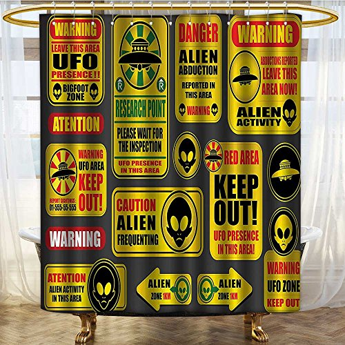 NALAHOMEQQ Outer Space Decor Shower Curtain Warning Ufo Signs with Alien Faces Heads Galactic Paranormal Activity Design Fabric Bathroom Decor Set with Hooks Yellow(60''x72'') by NALAHOMEQQ