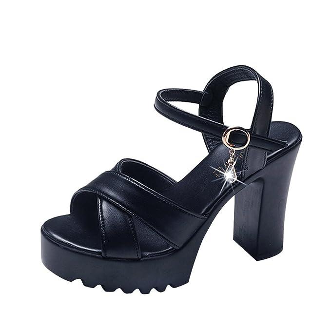 Zapatos de Tacón Mujer Negro,YiYLunneo Sandalias De Mujer Tobillo Tacones Altos Fiesta En La Calle Zapatillas Botines Abiertos del Dedo del Pie: Amazon.es: ...