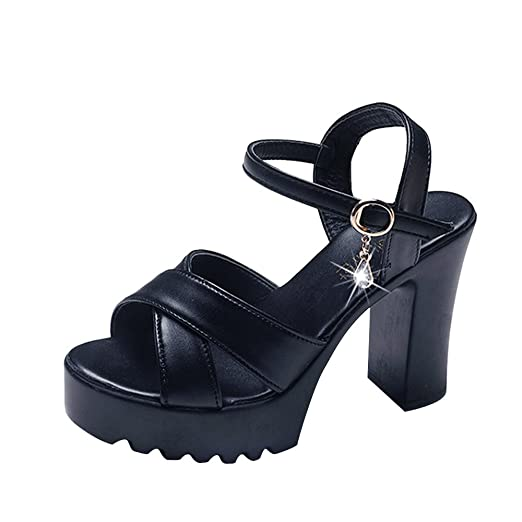 5191c89f5376 TIFENNY Women Fish Mouth Platform High Heels Wedges Sandals Fashion Buckle  Slope Cross Strap Shoes Black