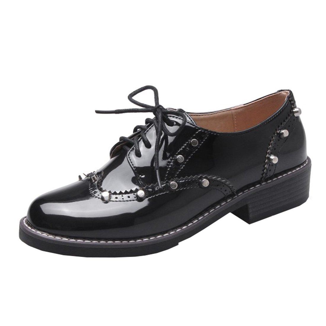 UH Bequeme Damen Flache Heels Lack Pumps mit Schnuuml;rung und Nieten Freizeit Vintage Schuhe37 EU|Schwarz