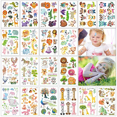 Kids Temporary Tattoos, 20 Sheets Various Zoo Animals Temporary Tattoos with Dog Cat Lion Bird Elephant Giraffe for Girls & Boys Birthday Party, Jungle Woodland Animal Party Favors Tattoos Stickers (Tattoo Dog)