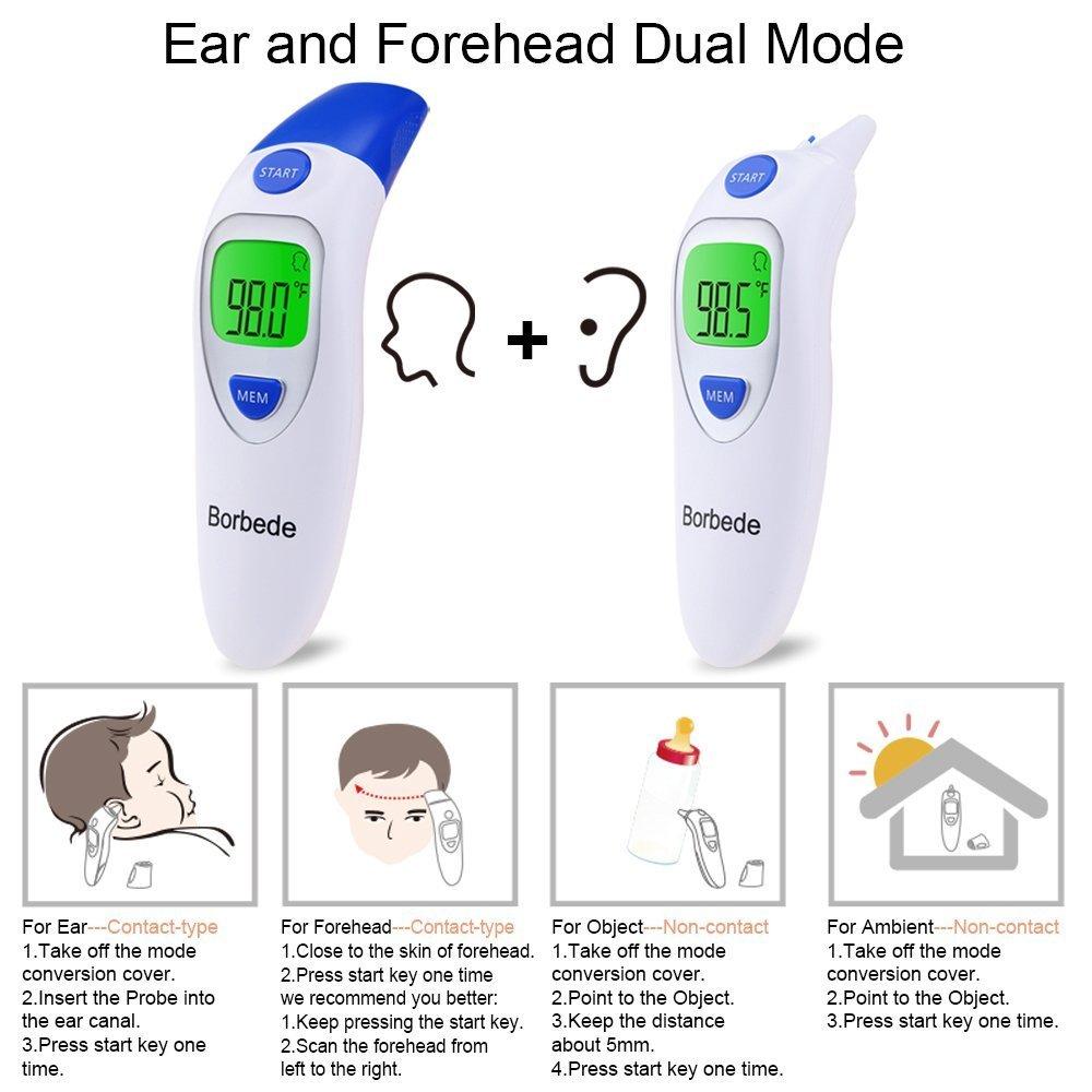 GYOYO Termómetro Digital De Frente y Oído 3 En 1 Termómetro Médico de la Frente y del Oído, Termómetro Corporal,Termómetro Digital para Niños con Infrarrojo ...