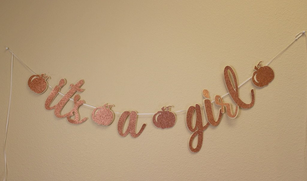 All About Details Copper Pumpkin Theme It's A Girl Cursive Banner   B0767ZK2J3